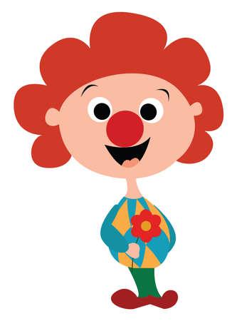 Little clown, illustration, vector on white background.
