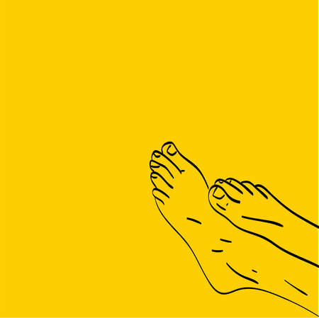 Cute woman feet, illustration, vector on white background. 向量圖像