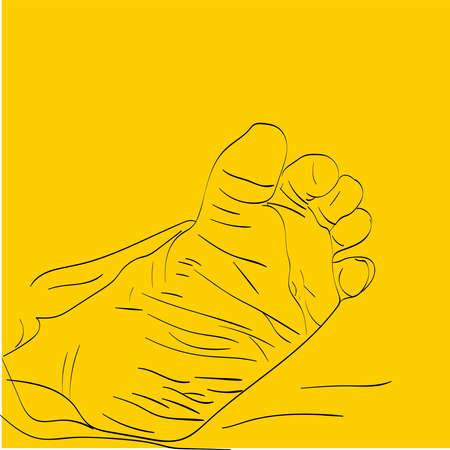 Baby feet, illustration, vector on white background. 向量圖像