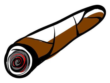 Cigar drawing, illustration, vector on white background. Illusztráció