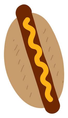 Flat hot dog, illustration, vector on white background.