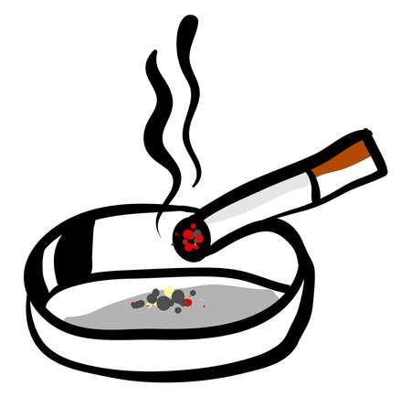 Cigarette in ashtray, illustration, vector on white background.