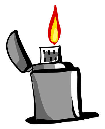 Gray zippo, illustration, vector on white background.