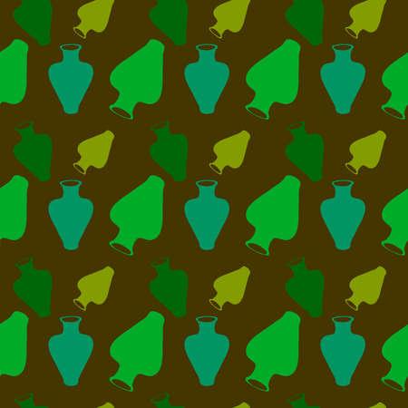 Green vase wallpaper, illustration, vector on white background. 向量圖像