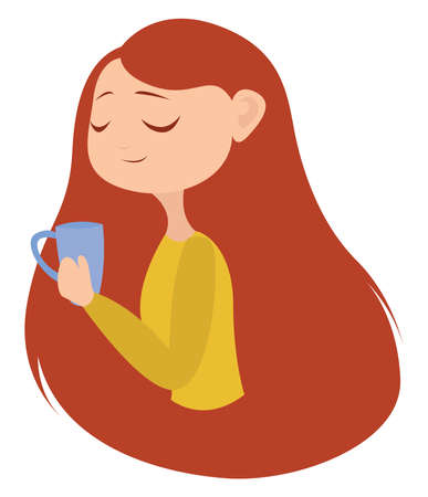 Girl with red hair, illustration, vector on white background.