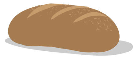 Long bread, illustration, vector on white background. Ilustracja