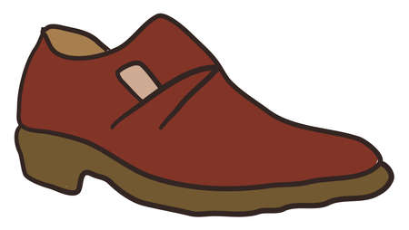 Brown shoe, illustration, vector on white background.
