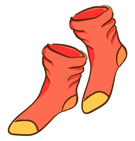 Orange socks, illustration, vector on white background.