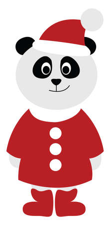 Panda with santa suit, illustration, vector on white background. Stock Illustratie