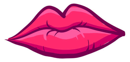 Pink lips, illustration, vector on white background. Banque d'images - 152558263