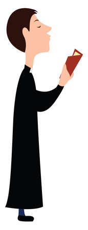 Priest in black, illustration, vector on white background. Vectores