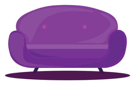 Purple sofa, illustration, vector on white background. Banque d'images - 152558309
