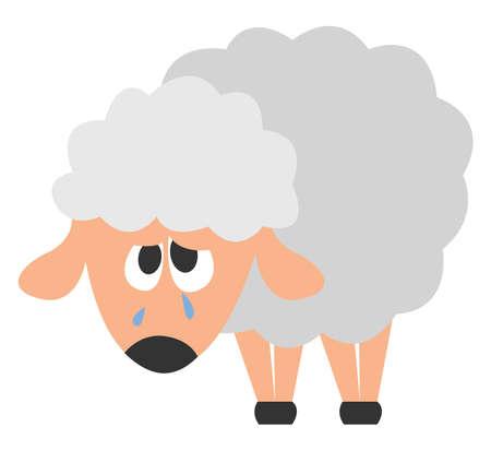 Sad sheep, illustration, vector on white background.
