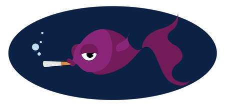Fish smoking, illustration, vector on white background. Banque d'images - 152553707