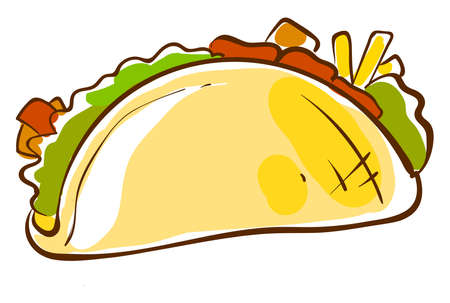 Taco flat drawing, illustration, vector on white background.