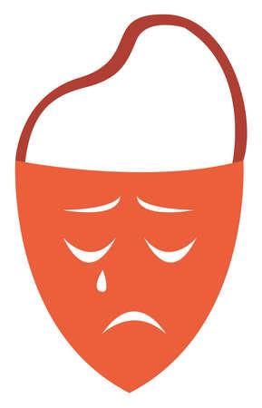 Sad mask, illustration, vector on white background.  イラスト・ベクター素材