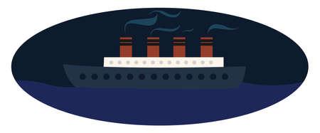 Big ship on sea, illustration, vector on white background. Banque d'images - 152572410