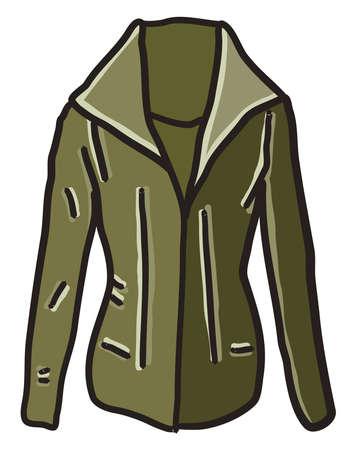 Green jacket, illustration, vector on white background.