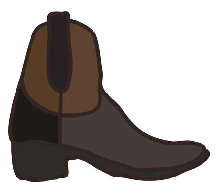 Brown boot, illustration, vector on white background. Vectores