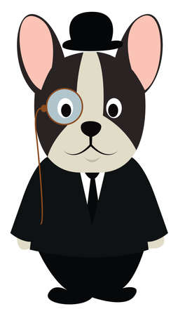 Dog in black suit, illustration, vector on white background.