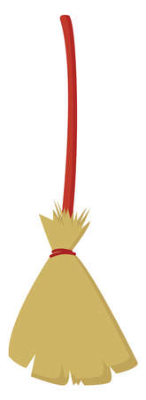 Wooden broom, illustration, vector on white background.