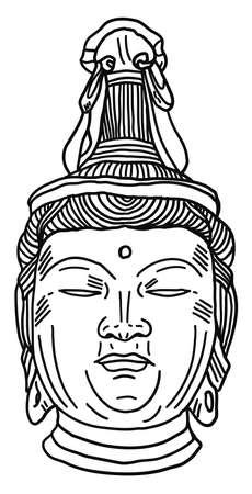 Buddha drawing, illustration, vector on white background. 向量圖像