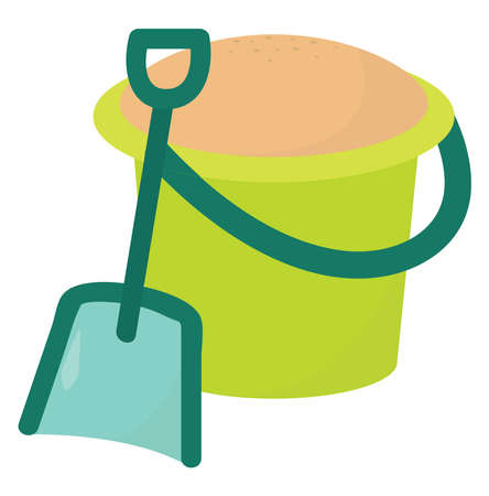 Bucket with sand, illustration, vector on white background.