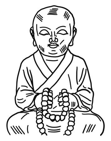 Monk drawing, illustration, vector on white background. 向量圖像