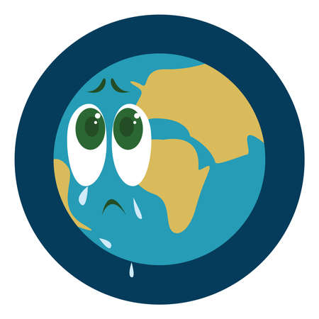 Crying earth, illustration, vector on white background. Ilustrace