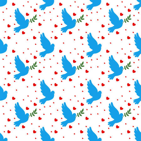 Dove wallpaper, illustration, vector on white background.