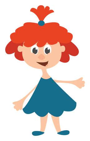 Ginger girl, illustration, vector on white background.