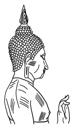 Buddha statue drawing, illustration, vector on white background. 向量圖像