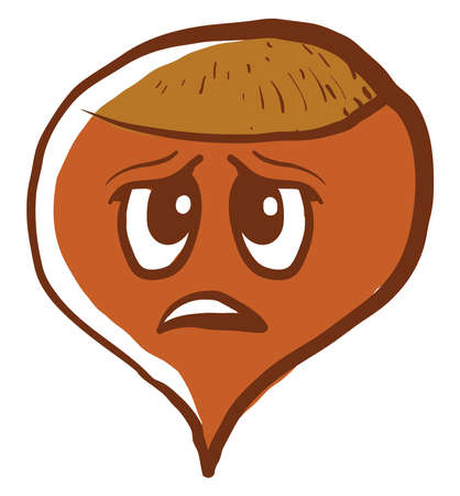 Sad hazelnut, illustration, vector on white background.