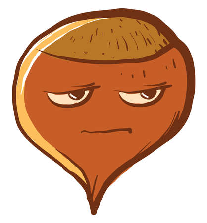 Hazelnut in bad mood, illustration, vector on white background.