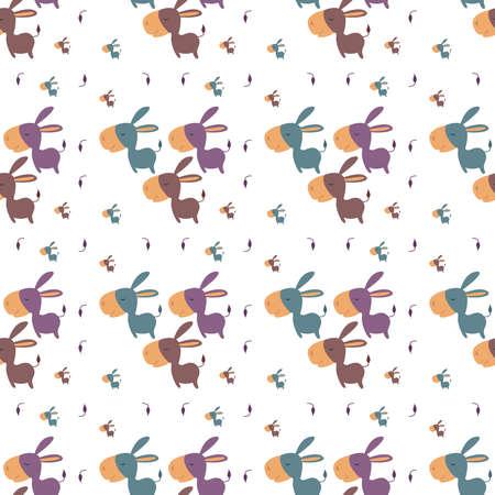 Donkeys pattern, illustration, vector on white background.