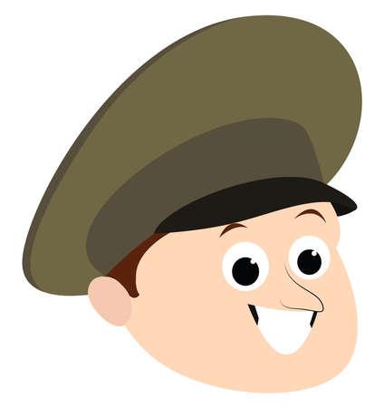 Officer cap, illustration, vector on white background.
