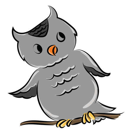 Gray owl, illustration, vector on white background.