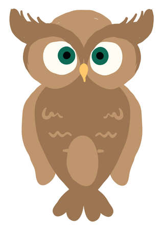 Brown owl, illustration, vector on white background.