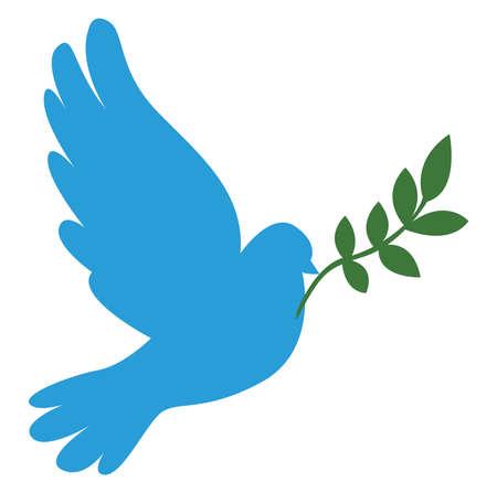 Blue dove, illustration, vector on white background.