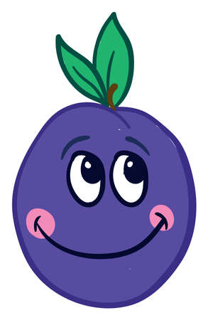 Happy prunes, illustration, vector on white background.