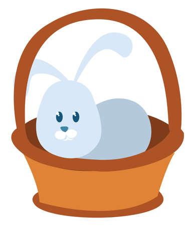 Bunny in basket, illustration, vector on white background.
