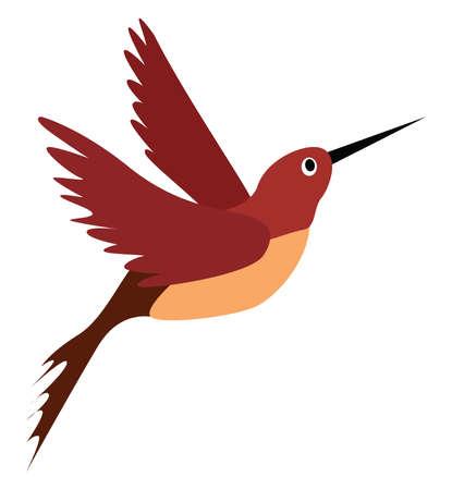 Red bird, illustration, vector on white background. Vektorgrafik