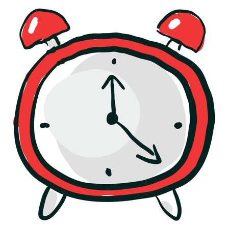 Red clock, illustration, vector on white background.