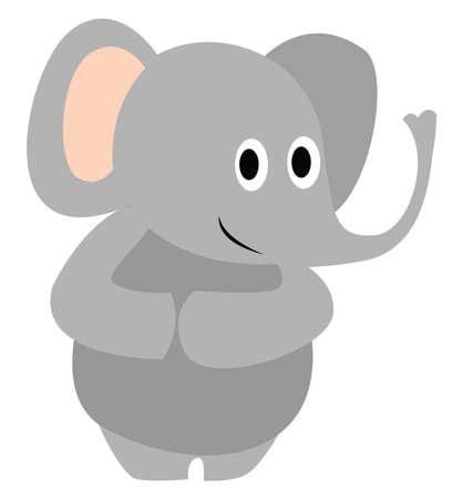 Shy elephant, illustration, vector on white background.