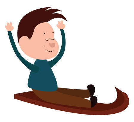 Man on sled, illustration, vector on white background.