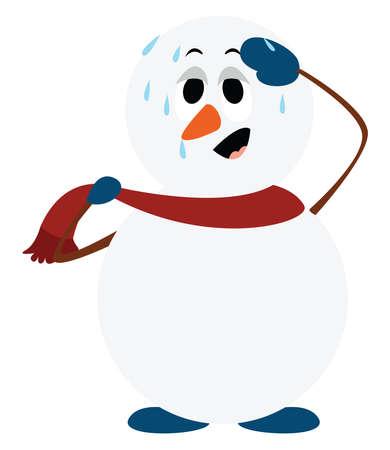 Snowman melting, illustration, vector on white background.