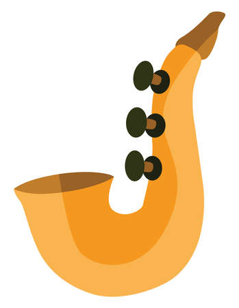 Yellow saxophone, illustration, vector on white background.