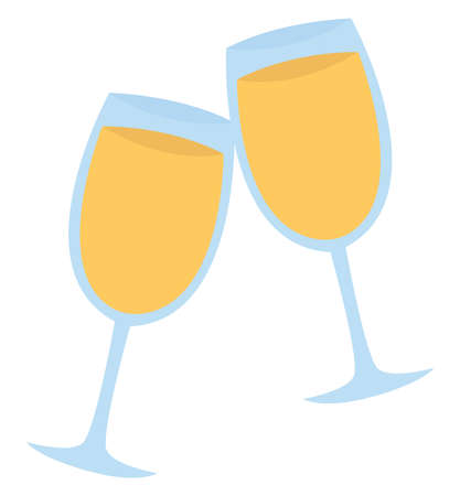 Glass of champagne, illustration, vector on white background.