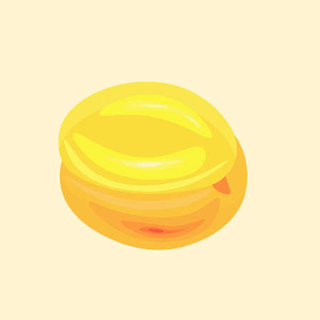 Yellow apricot, illustration, vector on white background. Ilustrace