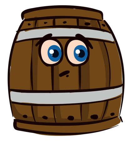 Sad barrel, illustration, vector on white background. Stock Illustratie